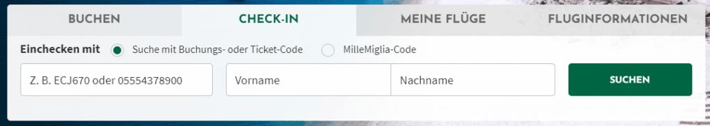 Alitalia online check in