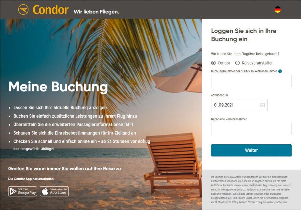 Condor online check-in