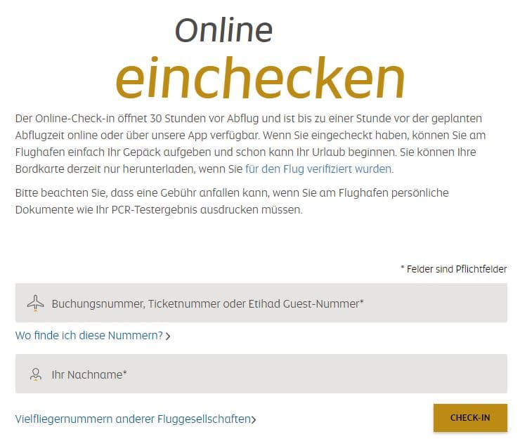 Etihad Online Check in