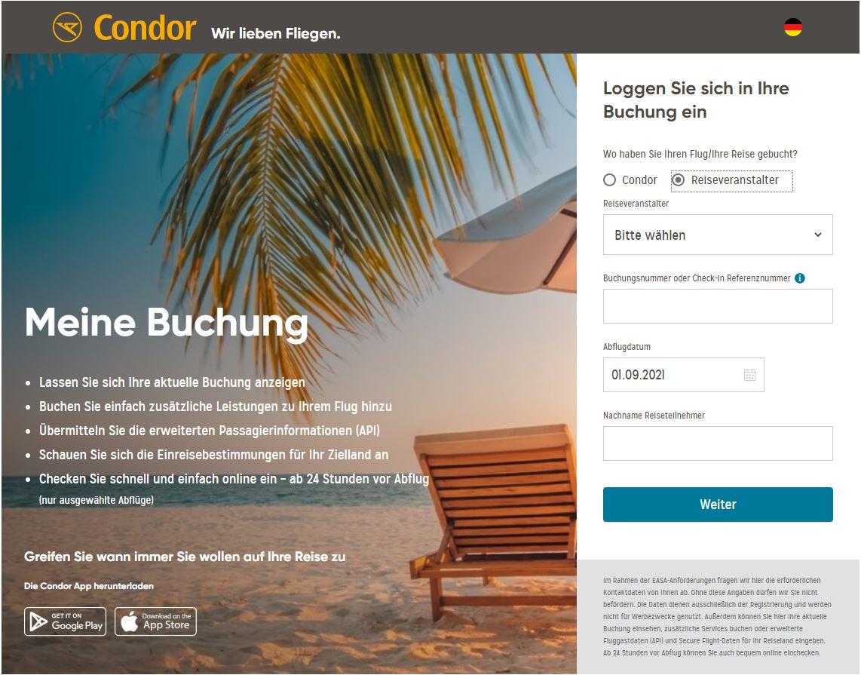 condor online check in reiseveranstallter