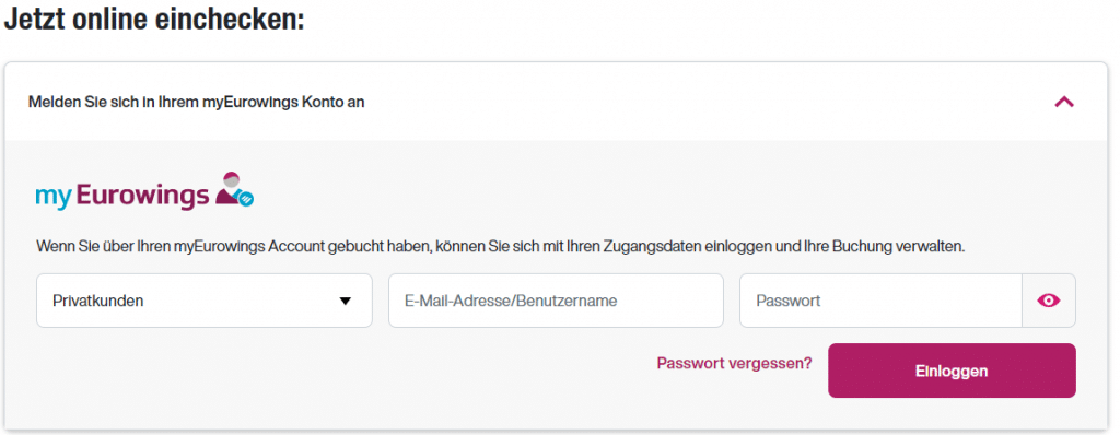 eurowing online check in