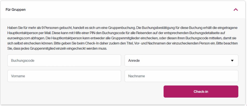 eurowings online check in gruppen