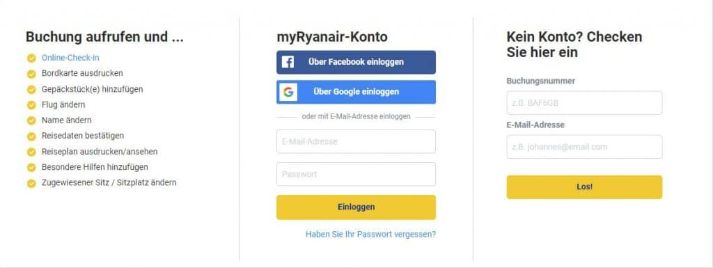 ryanair online check in