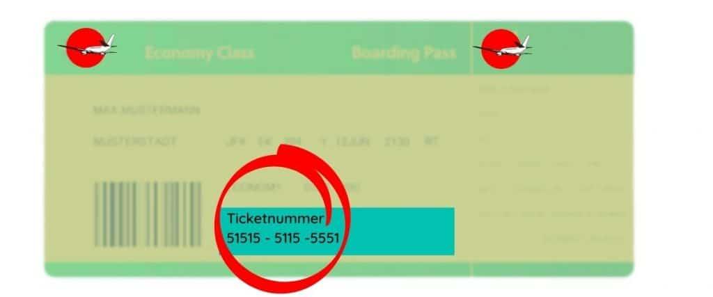 ticketnummer eticket nummer finden